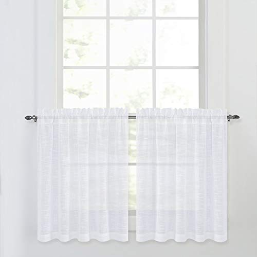 (NICETOWN Linen Textured Translucent Sheer Tiers - White Half Window Valances Semitransparent Voile Panel Drapes for Kitchen/Cafe, 52