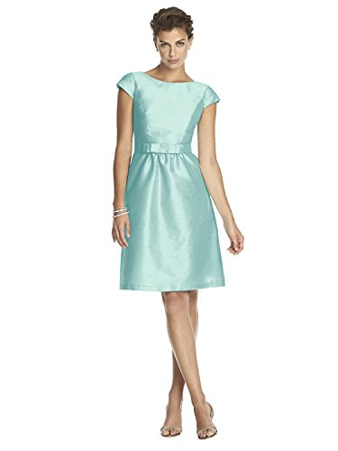 Forever Women's Cocktail Length dupioni Bateau Neck Dress With Bow by Alfred Sung - Seaside - Size 12 - Alfred Sung Bridesmaid Gowns
