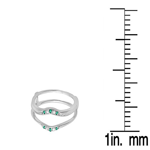 14K Gold Round Emerald & White Diamond Ladies Anniversary Wedding Band Guard Double Ring