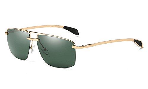 Gafas Hombres Gafas Gafas de Macho Negro polarizadas de Hombres Sol Marco Wome gold para Cuadrado Sol Sol Gafas green de Sunglasses TL Gris Aq54TT