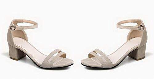 Kitten Open Toe Heels Buckle Beige CCALP015429 Sandals Frosted VogueZone009 Solid Women aZqwYU