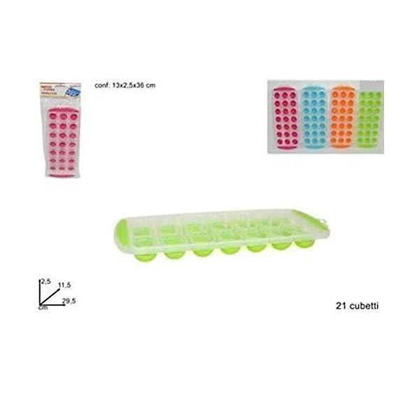 TrAdE Shop Traesio VASCHETTA FORMAGHIACCIO Forme 21 CUBETTI Ghiaccio Colorate Silicone Idea Regalo 1 spesavip