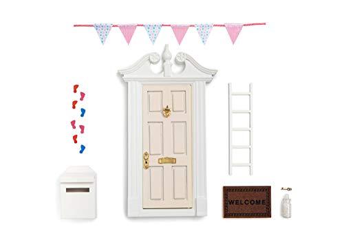 (Glitter White Elf Door Christmas Elf Door/Elf Fairy Door/Miniature Wooden Door - White Door with White Trim & Wreath Little Key,DIY Bunting, Mats,White Ladder,Bottle of White Sparkly Magical Dust)