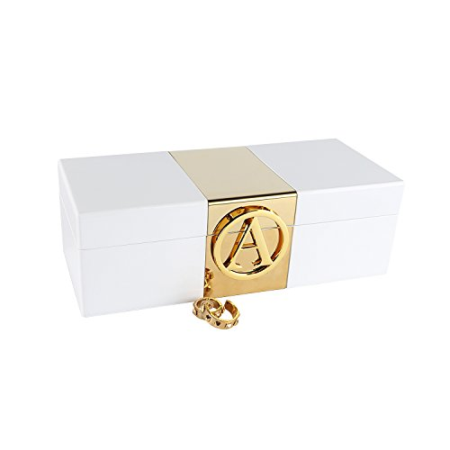 A Comely Lacquer Initial Personalised Jewelry Box Monogram High Gloss Wooden Accessories Storage Organizer Case (White, A)