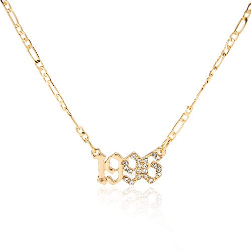 ZMNNOPPAB Birth Year Number Necklace, Crystal Pendant Necklace for Women, Girls Birthday Gift Anniversary Date Friendship Jewelry,18K Gold Plated,1996-2005