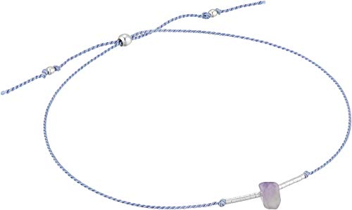 Dogeared Women's The Healing Gem Bracelet, Amethyst On Silk w/Accent Beads Silver/Lilac One Size by Dogeared (Image #1)