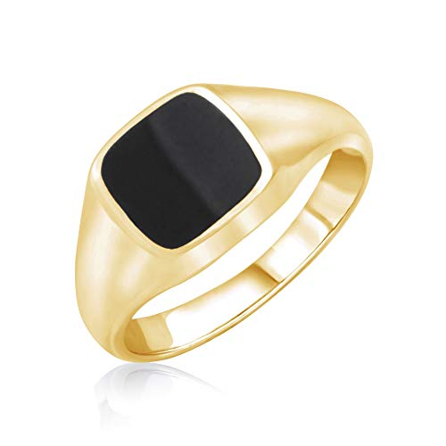 k Onyx Ring 18k Gold Plated Men's and Women's ()