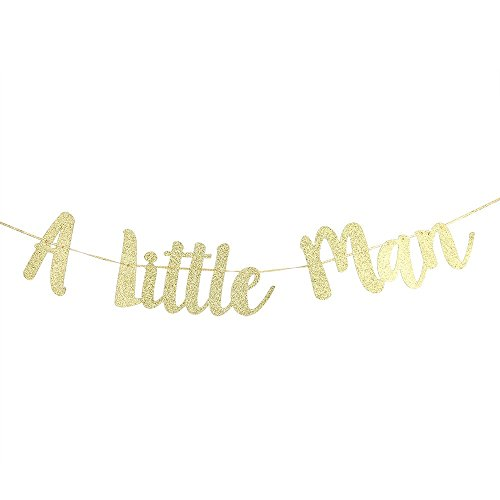 Gold Glitter A Little Man Banner For Boy 1st Birthday Party Decoration Baby Shower Supplies Decorations by Karoo Jan