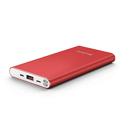 Yoobao Portable Charger 10000mAh Slim Power Bank Powerbank External Cell Phone Battery Backup Charger Battery Pack with Dual Input Compatible iPhone X 8 7 Plus Android Samsung Galaxy More - Red
