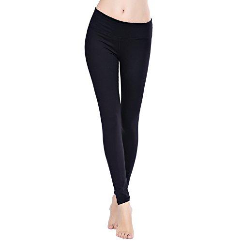Damen lang Leggings Yoga Sport Training Fitness Jogginghosen (S,Schwarz)