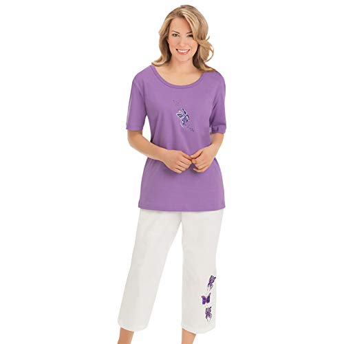 Women's Embroidered Butterfly Top and Capri Set, Purple Multi, Medium