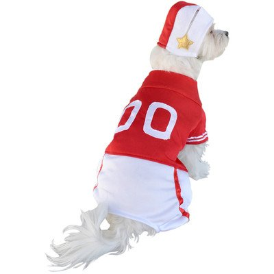 Red Football Player Dog Costume Size: Medium (12