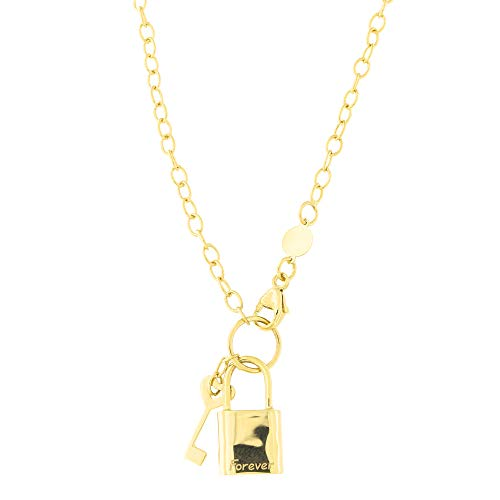 14k Yellow Gold Oval Link Chain Forever Lock and Heart Key Pendant Necklace and Charm Bracelet Set - Gold Oval Link Chain