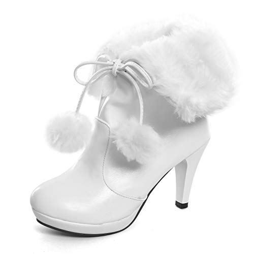 Women's High Heel Platform Lace Up Ankle Booties Outdoor Suede High-Reel Waterproof Faux Fur Snow Boots White 10 -