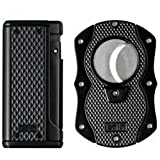 Colibri Monza Black Triple Flame Lighter and Cigar Cutter Gift Set