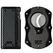 Colibri Monza Black Triple Flame Lighter and Cigar Cutter Gift Set