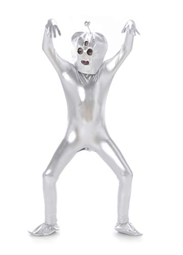 Space Alien Bodysuit Costume - Halloween Kids Full Body Suit, Silver, Small
