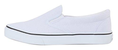 UJoowalk Damen Canvas Slip On Fashion Sneaker Skate Schuh Bläuliches Weiß