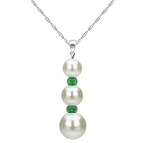 14k White Gold Freshwater Cultured White Pearl and Simulated Green Emerald Pendant Necklace 18 - White Round Pearls Semi