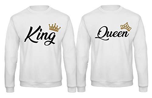 Regina Queen Stampa Girocollo Felpa Coppia Maglia King Re Fronte Per D29WIEH