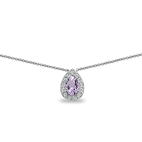 Sterling Silver Genuine, Simulated or Created Gemstone Teardrop Halo Short Choker Necklace with CZ Accents