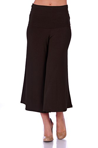 SR Women's Knit Capri Culottes Pants (Size: S - 5X), Small, Brown Brown Capri Pant