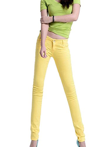 Runyue Donna Pantaloni Matita A Vita Alta Casuali Skinny Stretch Slim Pantalones Giallo