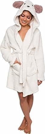 Silver Lilly Animal Hooded Robe - Plush Short Lamb Bathrobe by (Tan/White, S)