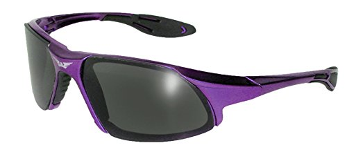 Global Vision Eyewear Code-8 Series Sunglasses with Purple Frame and Smoke Safety - Sunglasses Code Shop