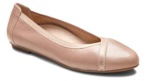 (Vionic Women's Spark Caroll Ballet Flat - Ladies Dress Casual Shoes with Concealed Orthotic Arch Support Tan 10 W US)