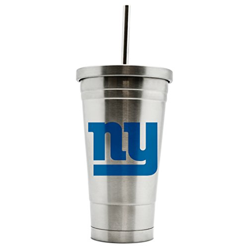 NFL New York Giants 17oz Double Wall Stainless Steel Thermo Tumbler with Straw ()