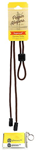 - Eyeglass Retainer & Sunglass Holder By Peeper Keepers Supercord Adjustable, Brown, 1pk | w/Microfiber Cloth, Screwdriver