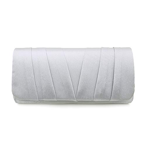 Elegant Classic Satin Pleated Satin Flap Clutch Evening Bag Handbag, (Silver Gray Bag)