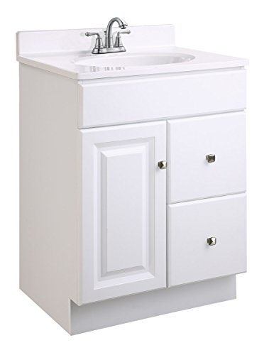 Design House 545004 Wyndham Ready-To-Assemble 1 Door/2 Drawer Vanity, White, 24-Inches Wide by 31.5-Inches Tall by 18-Inches Deep