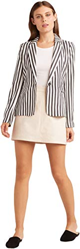 cupcakes and cashmere Women's Winston Yarn Dyed Tencel Rayon Stripe Blazer, Black, Small