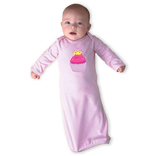 Cute Rascals Princess Cupcake Long Sleeve Envelope Neck Boys-Girls Cotton Newborn Sleeping Gown One Piece - Soft Pink, Gown Only