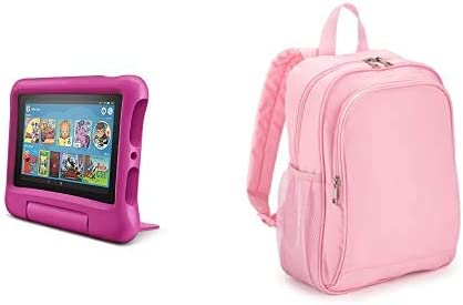 Fire 7 Kids Tablet 32GB Pink With Made For Amazon Kids Tablet Backpack, Pink