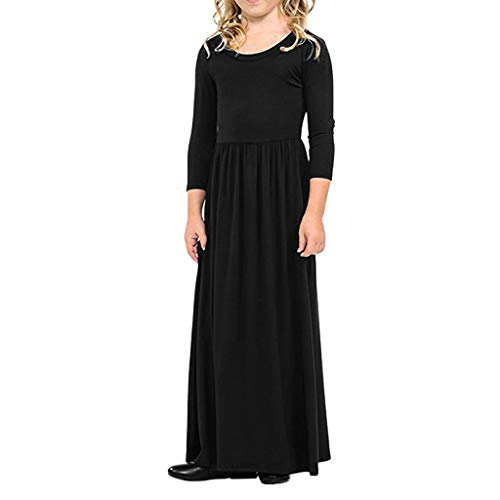 - Sunhusing Children's Girls Solid Color Long Sleeve Princess Dress Toddler Kids Party Beachwear Dress Outfits