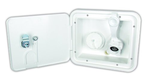 JR Products K7112-P-A Polar White City/Gravity Water Hatch with Plastic Check Valve and Key Lock by JR Products