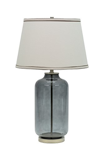 Aspen Creative 40019 Modern Glass Table Lamp Colored Finish with Empire Shaped Lamp Shade in Off White, 15