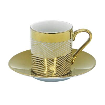 Porcelain China Espresso Turkish Coffee Demitasse Set of 6 Cups + Saucers with Metallic Design (Woven Gold)