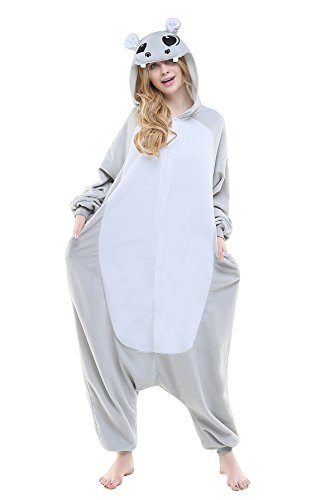 Images Costumes (NEWCOSPLAY Adult Unisex Hippo Grassland Animals Image Onesie Costume (L, Grey Hippo))