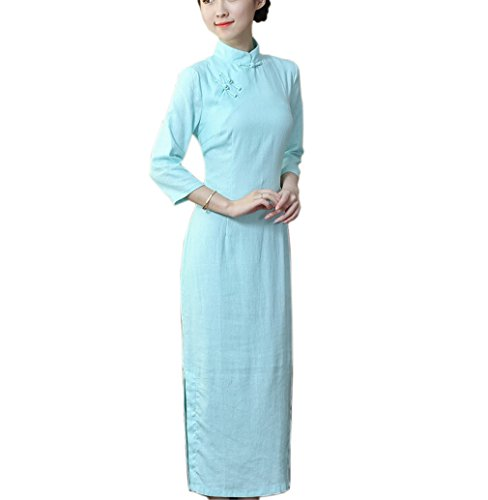 Acvip Traditionnelle Longue Claire Couleur Qipao Chinoise Manche Cheongsam Bleu 3 4 Robe Pure Avec Femme gvr4ng
