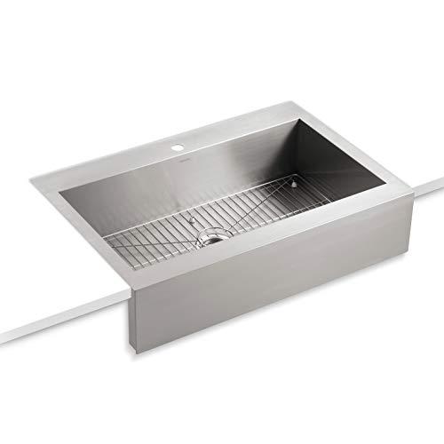 Sinks Kohler Corner - KOHLER Vault Single Bowl 18-Gauge Stainless Steel Apron Front Single Faucet Hole Kitchen Sink, Top-mount Drop-in Installation K-3942-1-NA