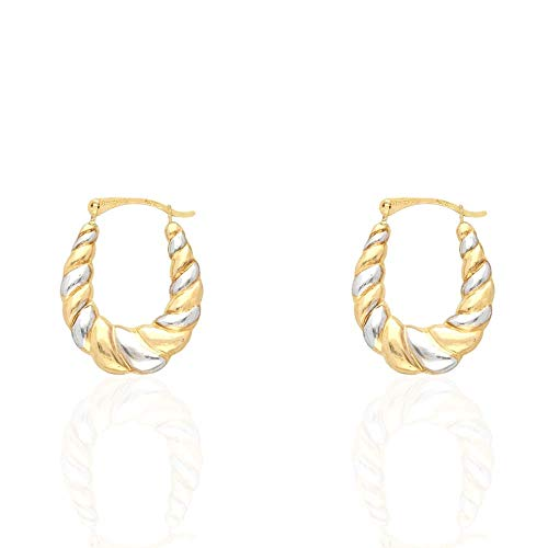 14k Two-Tone Yellow & White Gold Oval Twisted Textured Creole Hoop Earrings