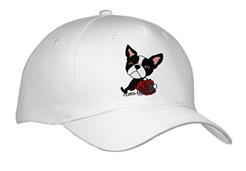 All Smiles Art Pets - Funny Cute Boston Terrier Dog Playing Card Game - Caps - Adult Baseball Cap (cap_263793_1) (Terrier Embroidered Cap)