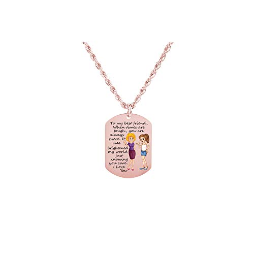 Pink Box Sentimental Tag Necklace to My Best Friend - Girl and Girl - Rose Gold