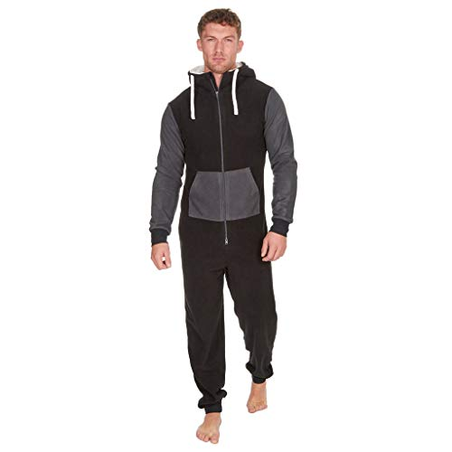 Men's Christmas Onesie Jumpsuit one Piece Non Footed Splicing Pajamas Unisex-Adult Hooded Overall Hoodie Zip up Playsuit Xmas Romper (Black, 2XL) -