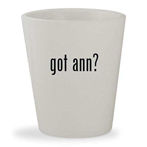 got ann? - White Ceramic 1.5oz Shot - With Glasses Ann Lisa