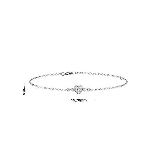 Libertini bracelet argent 925 femme plaque or Rose serti de Diamant en forme de Coeur